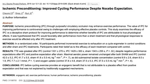 Ischemic Preconditioning for Improved Cycling Performance