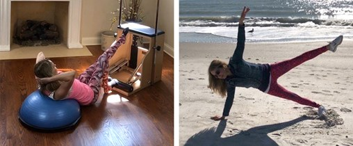Photo of woman working out on beach and photo of woman working out with exercise aball and EXO Chair