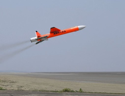 India's DRDO successfully flight-tested on its Abhyas high-speed expendable aerial target from the Integrated Test Range at Chandipur on 13 May . (Via PIB)