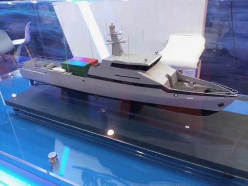 A model of the OPV 45, unveiled for the first time at IMDEX 2019 (IHS Markit/Ridzwan Rahmat)