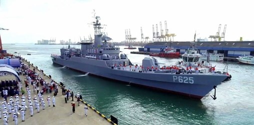 Ex-PLAN frigate <I&gtTongling</I>, which was formally handed over to the SLN on 5 June, arrived at the Sri Lankan port of Colombo on 8 July. (Sri Lanka Navy)