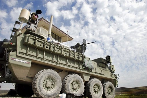 A Stryker with the 5 kW laser, mounted on the vehicle's rear. The US Army has decided to accelerate development of its MMHEL effort that seeks to integrate a 50 kW class laser on the vehicle. (DVIDS)
