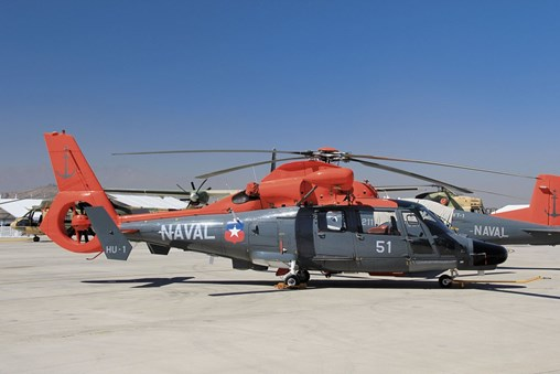 The Chilean Navy will equip its Dauphin II helicopters with an over-the-horizon targeting capability for shipborne Exocet anti-shipping missiles. (IHS Markit/Gareth Jennings)