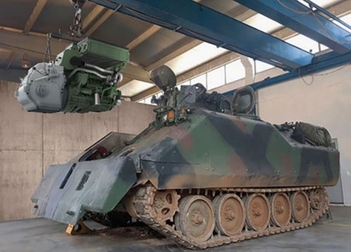 The Tumosan ALP Lightweight Tracked Vehicle Powerpack develops 360hp and has been designed for installation in tracked armoured fighting vehicles with a gross vehicle weight of up to 18 tonnes. It is shown here being installed in an ACV-15. (Tumosan)