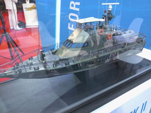 A model of the Shaldag Mk II, in Argentinian livery, on display at IMDEX 2019. (IHS Markit/Ridzwan Rahmat)