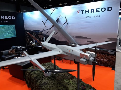 Threod Systems' Stream C vertical takeoff and landing (VTOL) unmanned aerial vehicle (UAV) has roughly five hours endurance while the fixed-wing version has about six hours. The aircraft was on display on 2 May 2019 at the AUVSI Xponential conference in Chicago. (IHS Markit/Pat Host)