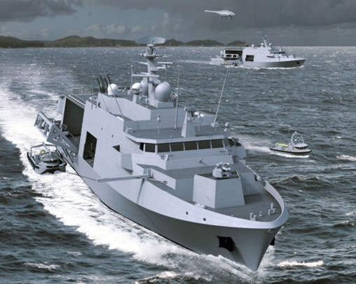 The Belgian and Dutch MCMVs will be equipped with a package of unmanned surface and underwater vehicles operated autonomously from the Inspector 125 unmanned surface vessel. (Naval Group/Belgium Naval & Robotics)