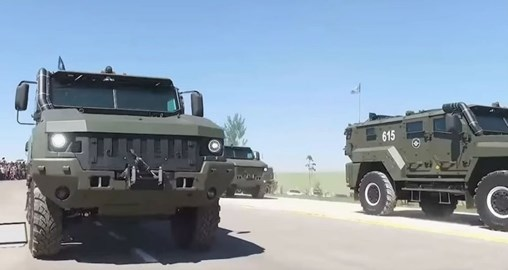 The Uzbek military displayed recently acquired Taifun-K K-53949 MRAPs during a parade held on 5 May. (Via uznewstv24)