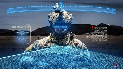 Raytheon photo illustration of the Synthetic Training Environment. The Synthetic Training Environment Squad and Soldier Virtual Trainer uses virtual reality to train squads of soldiers in multiple scenarios while using real and virtual weapons.
