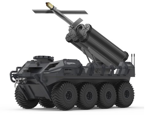 Rheinmetall presented the Mission Master UGV armed with the Warmate loitering munition system at MSPO 2019. (Rheinmetall)