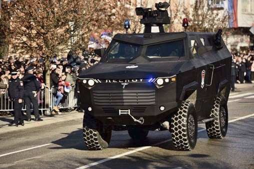 The Despot 4×4 APC was unveiled during the parade marking the national day of RS, Bosnia-Herzegovina, on 9 January. (Ministry of Interior of Republika Srpska)