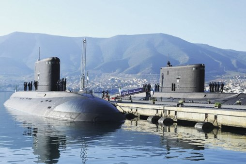 The two new Project 636 'Kilo'-class submarines pictured at the Mers el-Kébir naval base. (Algerian Ministry of National Defence)