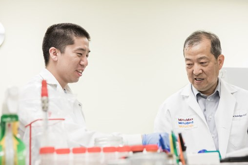 Josh and Dr. Lin show off some of the equipment that has helped them develop a number of successful probiotics.