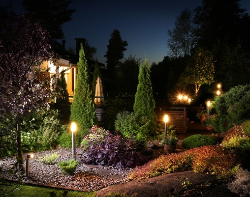 Home garden illumination autumn evening lights patio