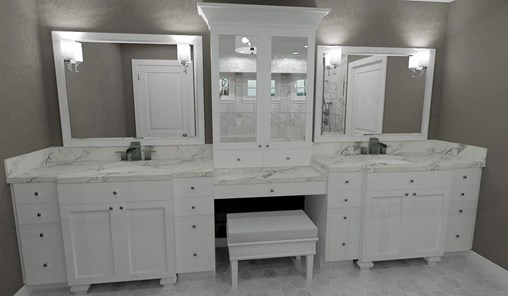 Double white vanity with center bench