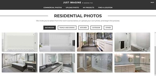 New Photos added to the Just Imagine Visualizer for both commercial and residential customers, From Arizona Tile