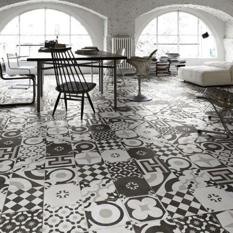 Cementine Black and White Mix Porcelain Decos Tile from Arizona Tile