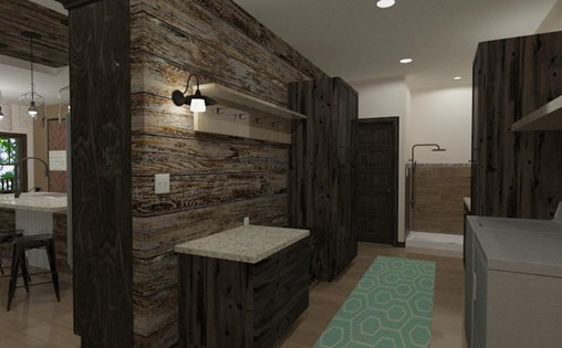 Wenzel Project laundry room featuring wood accent wall.