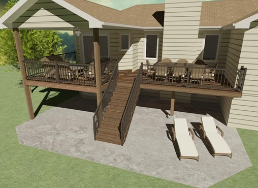 Back deck with lounge chairs