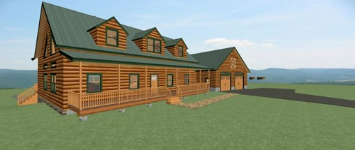 Front view rendering of log home with a covered porch and attached garage.
