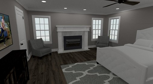 Living room with a fireplace and marble mantle