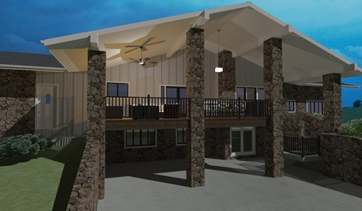 Two story back porch featuring outdoor ceiling fans and seating