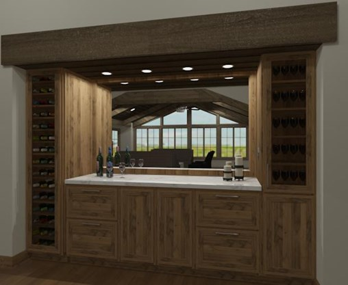Built in bar and wine storage