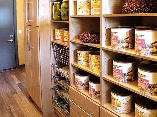 solid wood pantry displaying canned goods Milan in Ginger