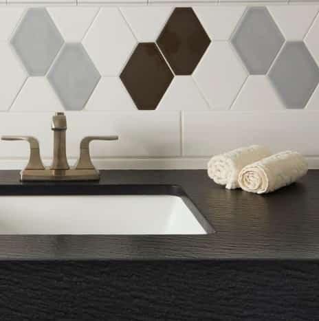 Jumbo Hex Cotton, Café, Denim Bathroom Wall Tile from Arizona Tile