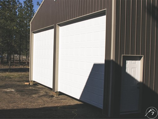 Garage Door on a Shed from the side
