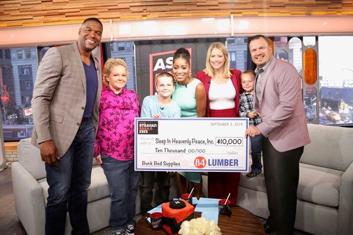 """84 Lumber Donates $10,000 to Sleep in Heavenly Peace on """"Good Morning America"""""""