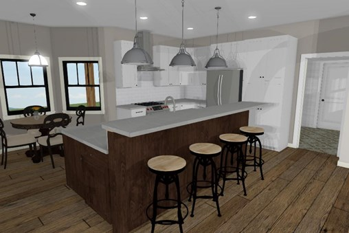 Northrop kitchen with dual height center island and seating for four