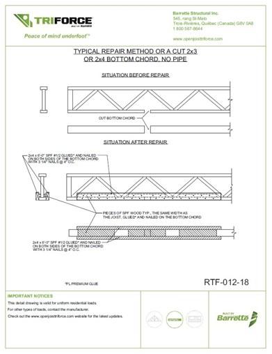 Repair detail for cut bottom chord