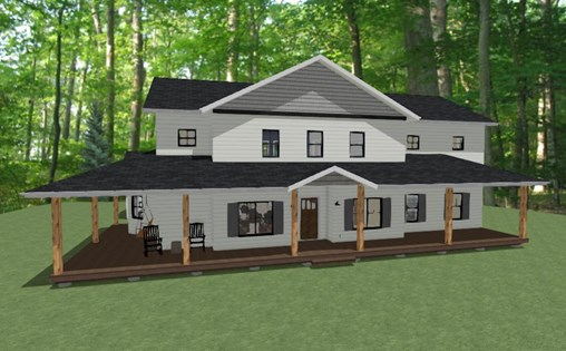 Northrop project rendering with a wrap around porch and second story
