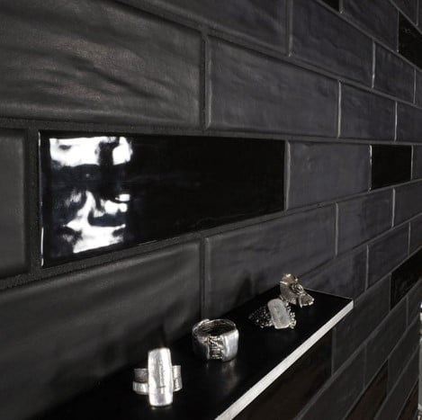 Concerto Black Glossy and Matte Porcelain Wall Tile from Arizona Tile