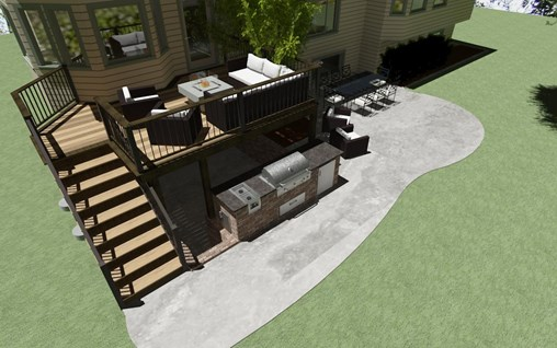 Back yard with a deck and concrete patio and outdoor kitchen