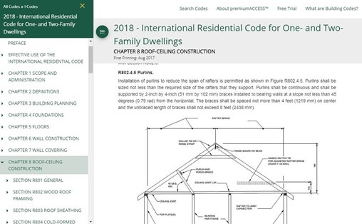 use the online table of contents to find residential building codes
