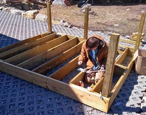 Pre-assembling the deck in Rhode Island