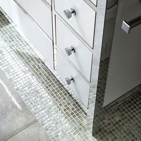 Shimmer Pearl Glass Bathroom Floor Tile from Arizona Tile