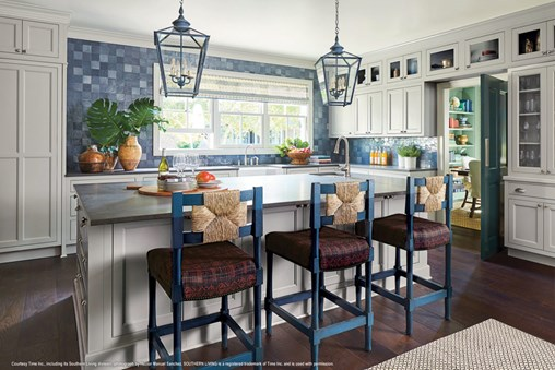 grey kitchen cabinets with large island