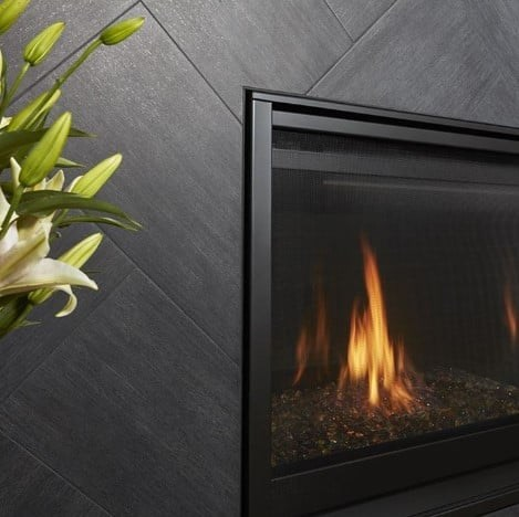 Metalwood Carbonio Porcleain Tile Fireplace from Arizona Tile