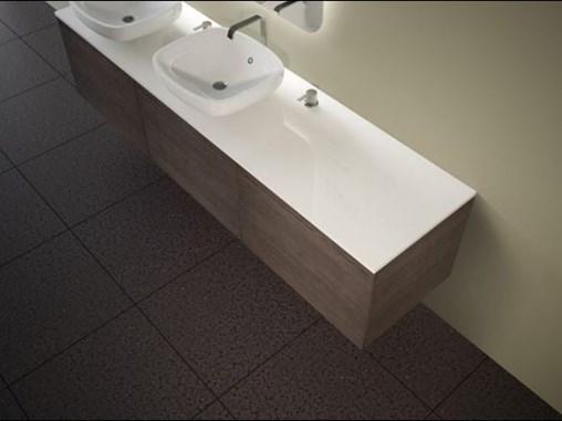 Terrazzo Black Porcelain Public Bathroom Floor Tile from Arizona Tile with Minimalist Fixtures