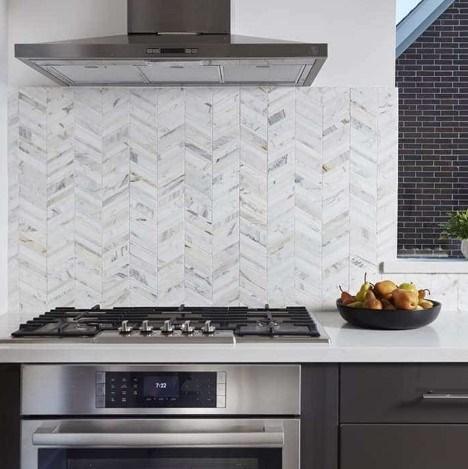 Chevron Calacatta Polished Marble Tile Kitchen Backsplash From Arizona Tile