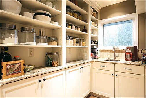 white shaker walk-in pantry