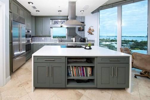 grey transitional kitchen island