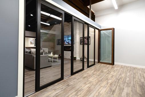 Panoramic Aluminum Door with Wood Cladding