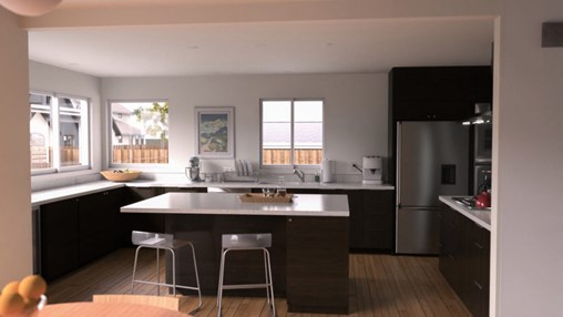 A contemporary kitchen design with Dark Cabinets and lots of natural light.