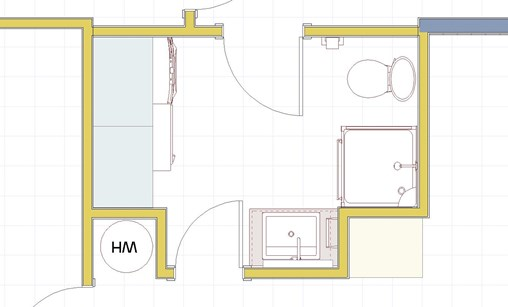 Combined bathroom and laundry room floor plan created in Home Designer Suite.