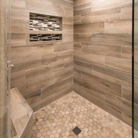 Aequa Tue, Aequa Hex, Baroque Peperino Strip Grouted Tile from Arizona Tile