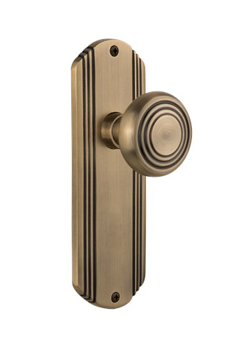 Deco Plate with Deco Knob in Antique Brass